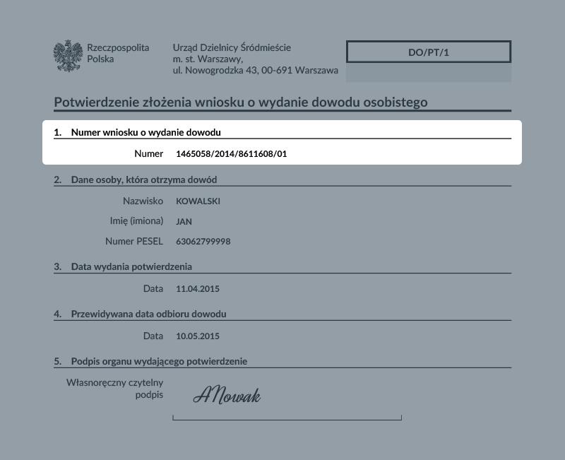 Wzór potwierdzenia złożenia wniosku o wydanie dowodu osobistego