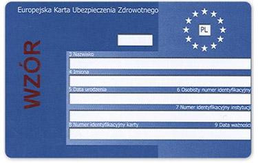 Europejska Karta Ubezpieczenia Zdrowotnego (EKUZ) - awers