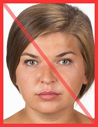 Nieprawidłowe zdjęcie - włosy nachodzą na brwi
