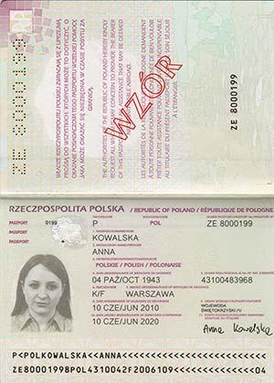 Paszport wzór - dane właściciela paszportu
