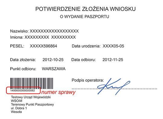 Potwierdzenie złożenia wniosku o wydanie paszportu - numer sprawy znaduje się pod kodem kreskowym