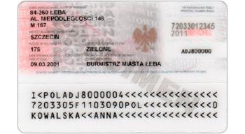 Tył (rewers) dowodu osobistego wydawanego do 28.02.2015.